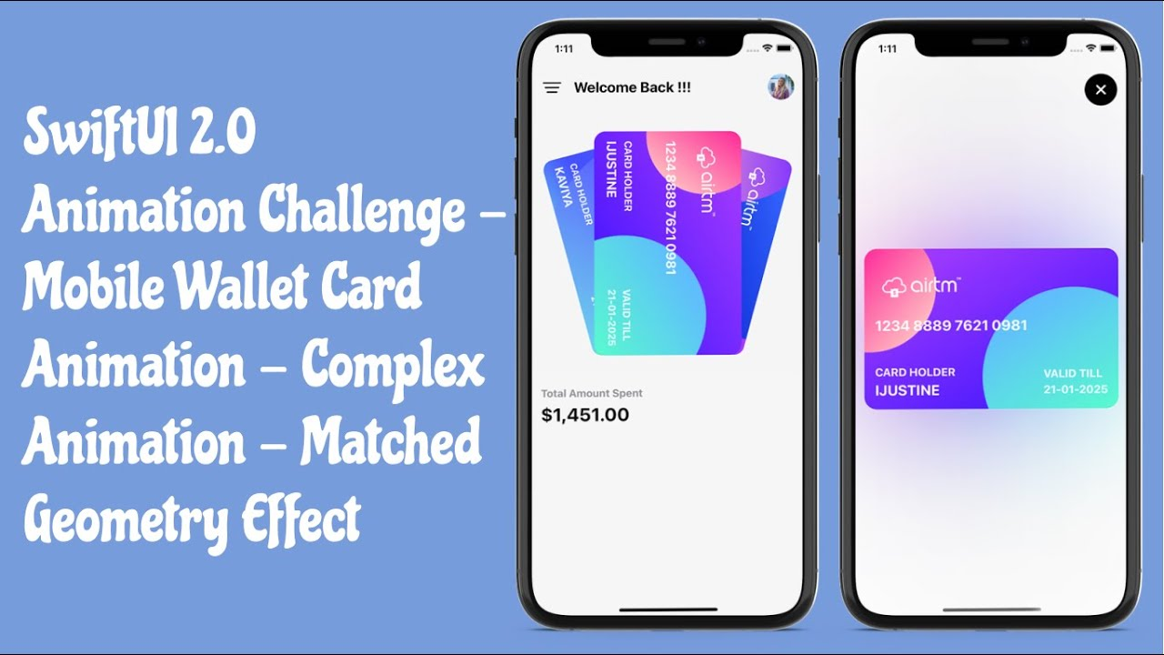 SwiftUI 2.0 Mobile Wallet Card Animation - Matched Geometry Effect - SwiftUI Tutorials