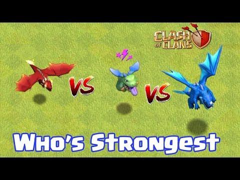 ELECTRO DRAGON VS BABY DRAGON VS DRAGON | WHO's STRONGEST | CLASH OF CLANS |