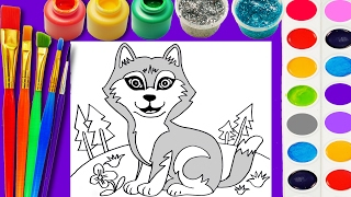 Husky Dog Coloring Page Cute Puppy for Children to Learn Hand Color and Paint Watercolor