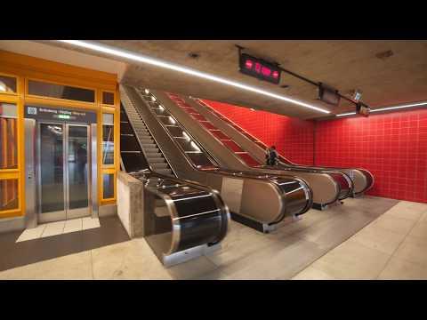 Sweden, Stockholm, Norsborg Subway station, U-Bahn, Metro, T-Bana, 4X escalator 5X elevator ride