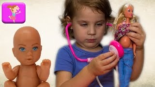 Беременная барби пришла на прием доктора набор доктора детский штеффи беременная игры для девочек