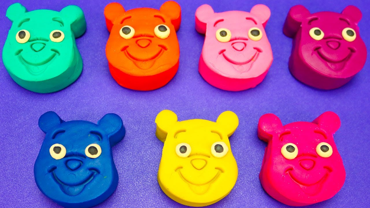 Learn Colors with 7 Colours Play Doh Winnie the Pooh and Disney Car Cookie Molds
