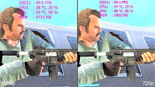 GTA 5 MAXED OUT 1080p Vs 720p GTX Titan X Frame Rate - VRAM Comparison