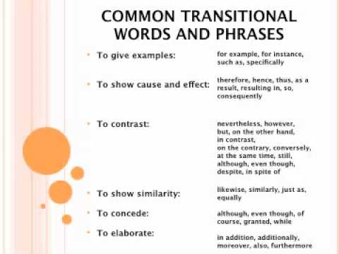Essay paragraph transition words