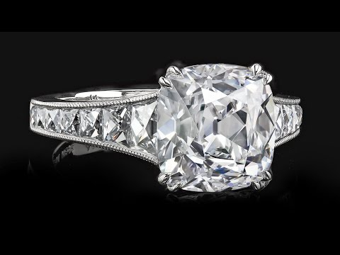 4.33 carat True Antique™ Cushion with French cuts diamonds r6276 by Leon Megé