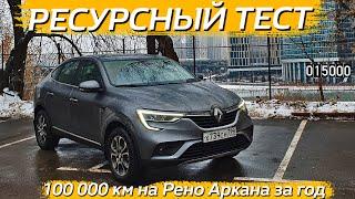 Ресурсный тест Рено Аркана.  100 000 км пробега за один год.  Renault Arkana 1.3 4WD...