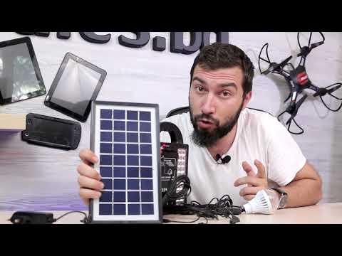 Комплект слънчев панел с генератор, 3 лампи, зарядно за мобилни устройства KH8215 7