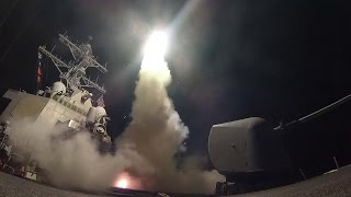 Footage: US Navy destroyers launch tomahawk cruise missiles targeting Syrian airbase