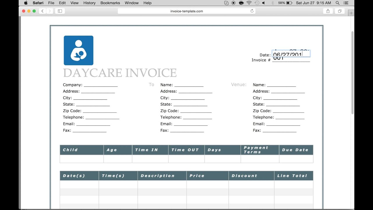 how to make a daycare invoice
