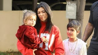Kourtney Kardashian Is Asked What Kim's New Baby Name Is As She Steps Out With The Boys