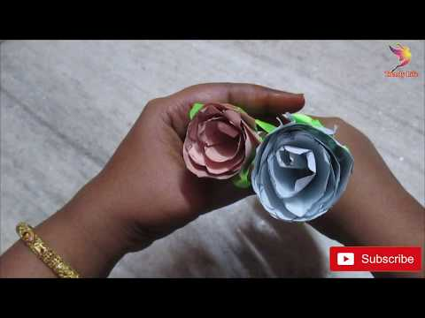 How to make Crepe paper rose flower/very simple way to make roses from paper/DIY beautyrose flower
