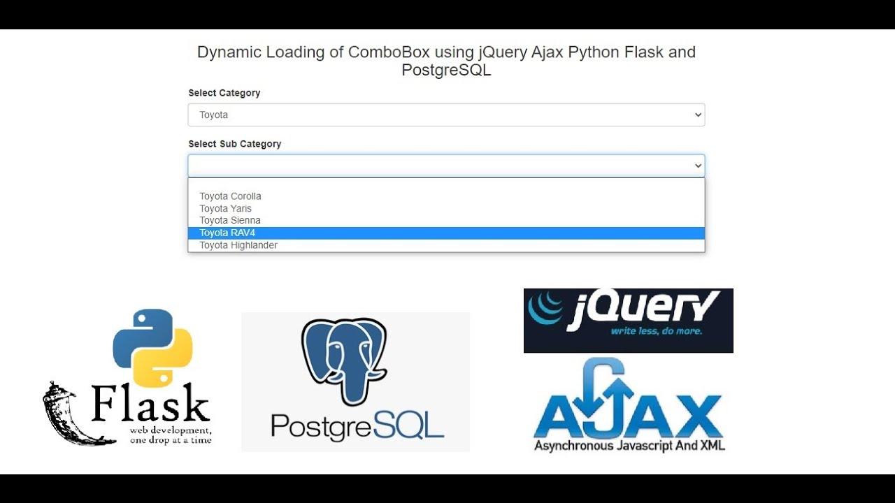 Dynamic Loading of ComboBox using jQuery Ajax Python Flask and PostgreSQL
