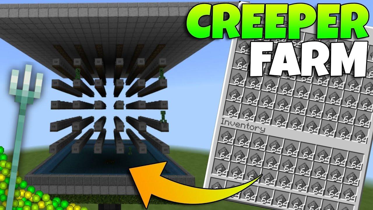 Best Simple Minecraft Bedrock Creeper Farm Tutorial Mcpe