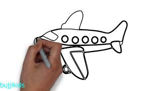 How to Draw an Aeroplane for Kids | Plane Drawing Easy