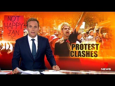 Anti White Marxist Charged Aborigines Crash Australia Day. Seven + Nine News