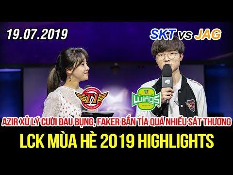 [LCK 2019] SKT vs JAG Game 1 Highlights   Azir xử lý cười đau bụng, Faker bắn tỉa quá ghê