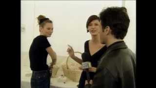 Jon Stewart with Kate Moss and Linda Evangelista