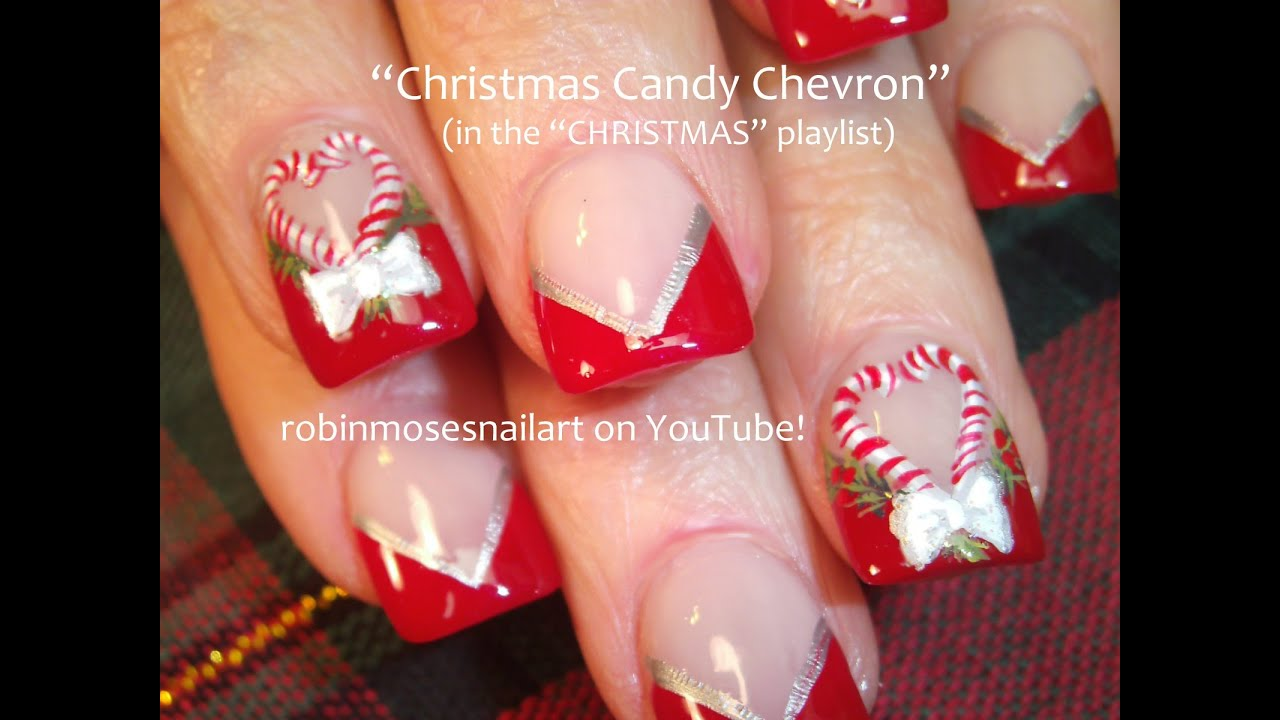 DIY Christmas Nail Art! | Xmas Candy Cane Nails Bows Design Tutorial ...