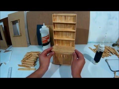Mueble de cocina para muecas hecho con palitos  parte 2
