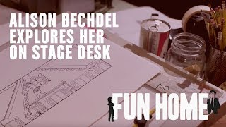 Alison Bechdel explores her on stage desk | Fun Home