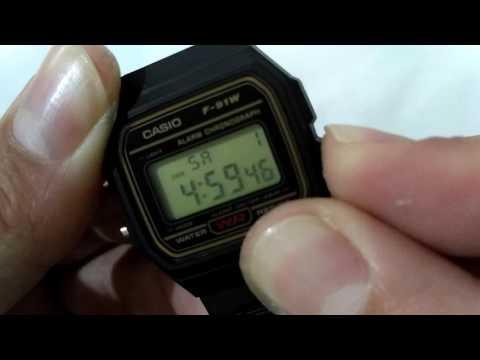 Ajustando a hora do Relógio Casio F 91w Original.
