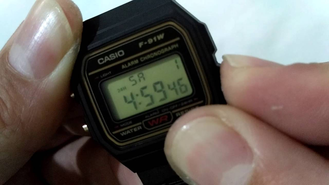 90473f6ce78 Ajustando a hora do Relógio Casio F 91w Original. - YouTube