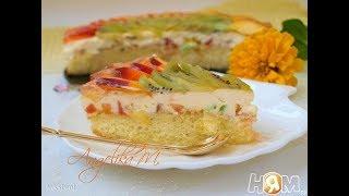 Бисквитный торт с киви и нектаринами