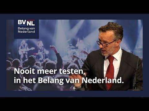 Nooit meer testen, in het Belang van Nederland.   14-07-2021