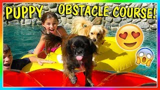 MAKING A PUPPY POOL OBSTACLE CHALLENGE | We Are The Davises
