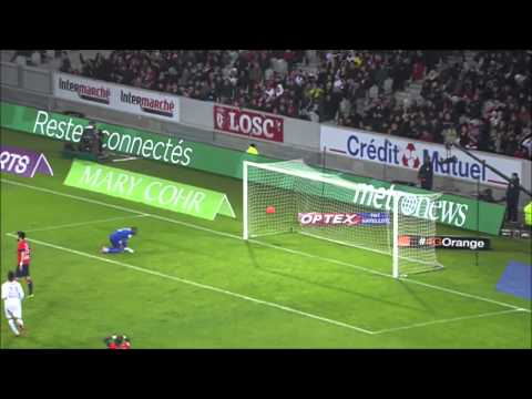 Very funny goal comedy header in football/ soccer in french ligue 1 during match lille vs reims