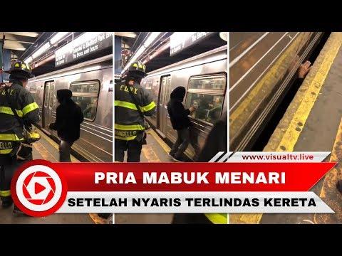 Pria Mabuk Nyaris Terlindas Kereta, Setelah Ditolong Malah Menari
