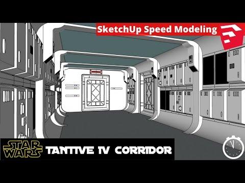 SketchUp Speed Modeling - Star Wars Tantive IV Corridor