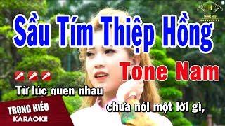 Karaoke Sầu Tím Thiệp Hồng Tone Nam Nhạc Sống | Trọng Hiếu