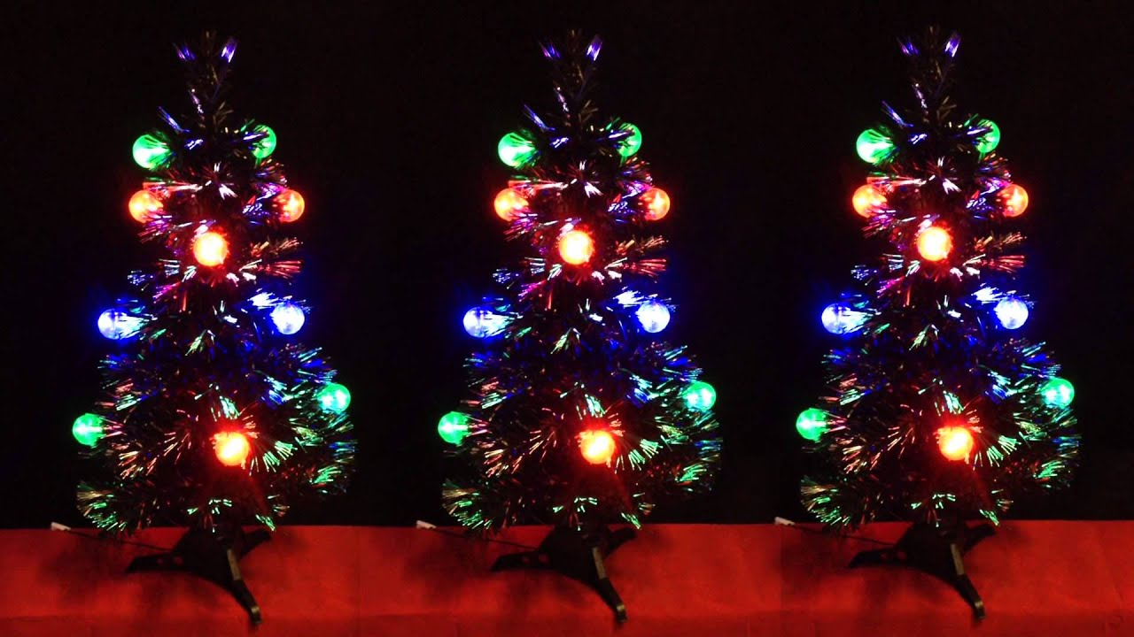3ft Fibre Optic Black Christmas Tree With LED Transparent Bauble ...