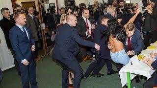 Miloš Zeman napaden polonahou ženou / Czech president Zeman under attack by Femen