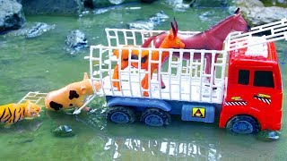 Fire Truck Transports Wild Animals Crossing Deep Water | Learn Names And Sounds Animals | Kid Toy