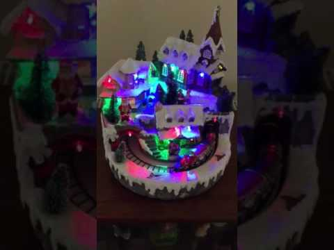 Christmas village scene with music & lights