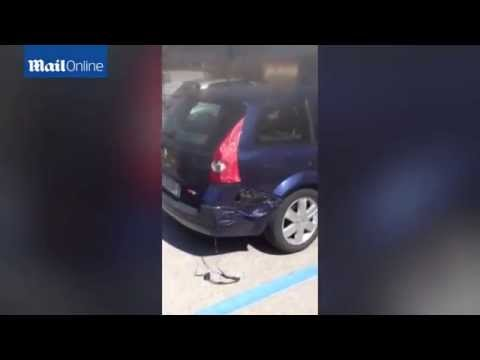 Unbelievable video shows car MELTING in scorching Italian heat