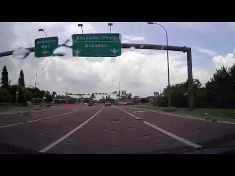 Driving from Downtown Tampa to Brandon, Florida on Selmon Expressway