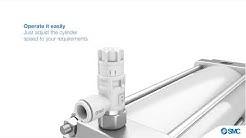 SMC Produktanimation zur Serie AS-R und AS-Q: sparsame Drosselrückschlagventile (Englisch)