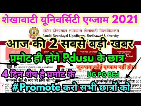 Pdusu Exam 2021 Big Update || Shekhawati University Exam 2021 कब होगी || UG PG BEd Exam 2021 News ||