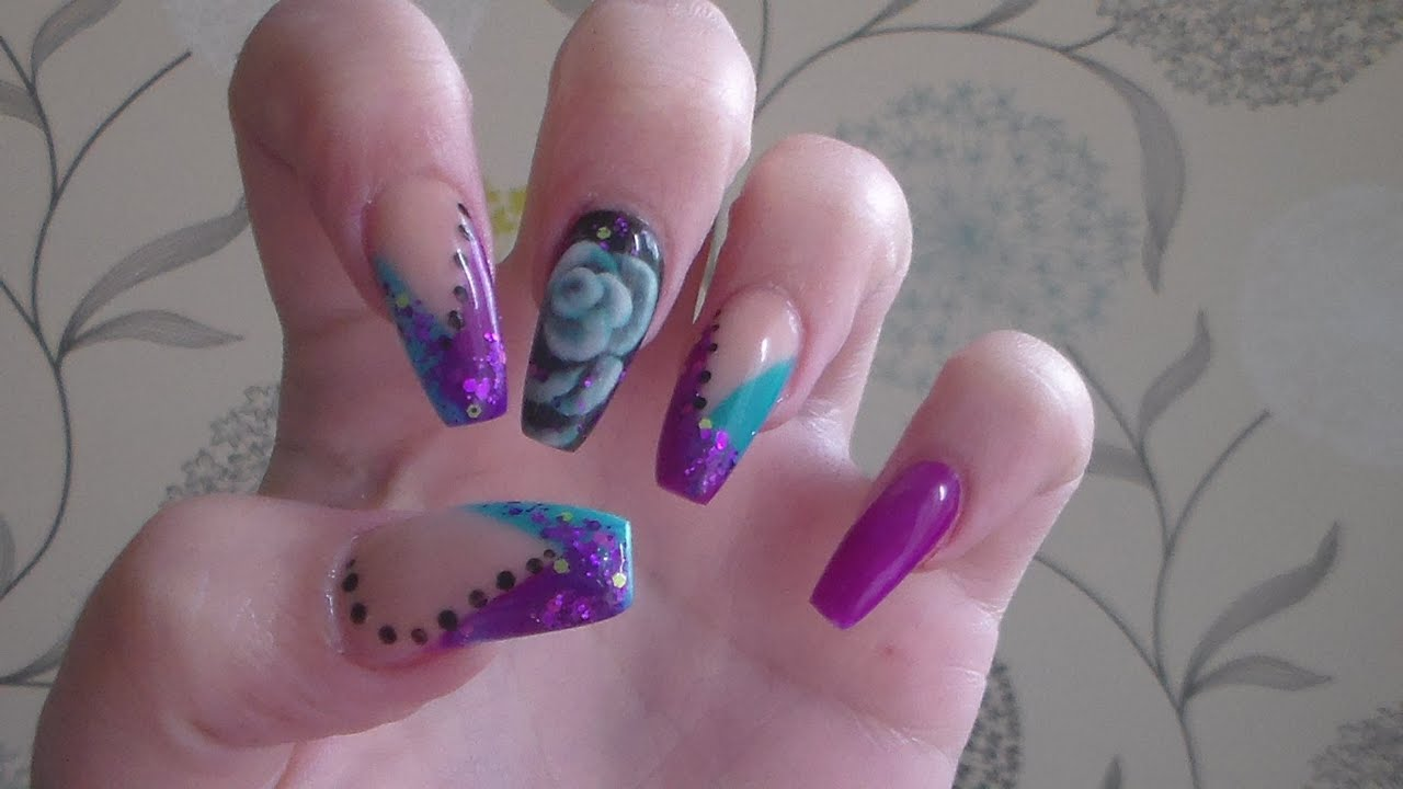 Purple And Turquoise Acrylic Nails How To At Home D I Y