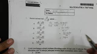 Video Nomor 1 merasionalkan | Pembahasan Soal UN Matematika tahun 2015 SMK TKP download MP3, 3GP, MP4, WEBM, AVI, FLV Juni 2018