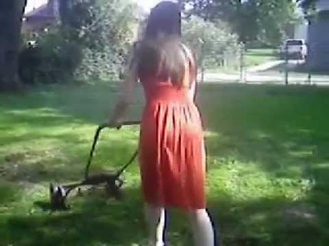Windy Orange Dress 1 Cutting The Grass Mowing The Lawn