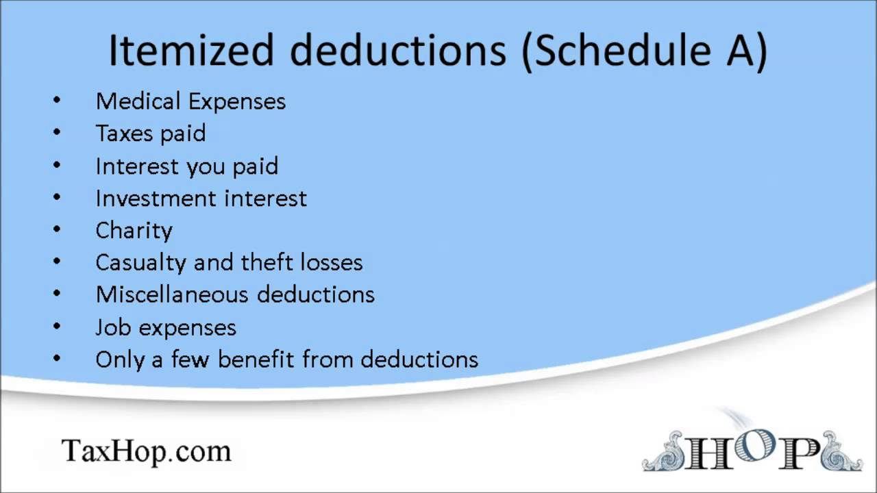 Worksheet Schedule A Itemized Deductions Worksheet itemized deductions schedule a youtube a