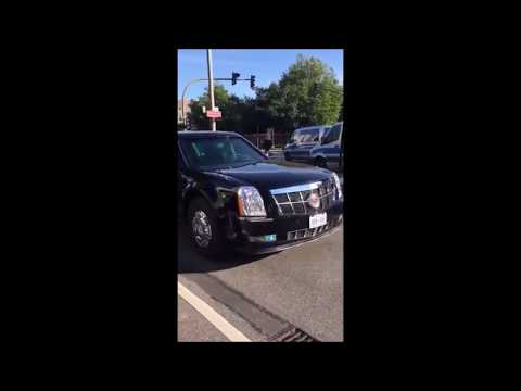 German Police covering USA President  convoy