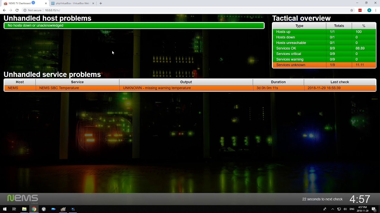 2018 11 29 - New Feature: Visible Indicator on TV Dashboard if NEMS Server  Goes Offline