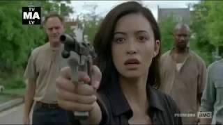 The Walking Dead 7x08 Rosita Shoots At Negan