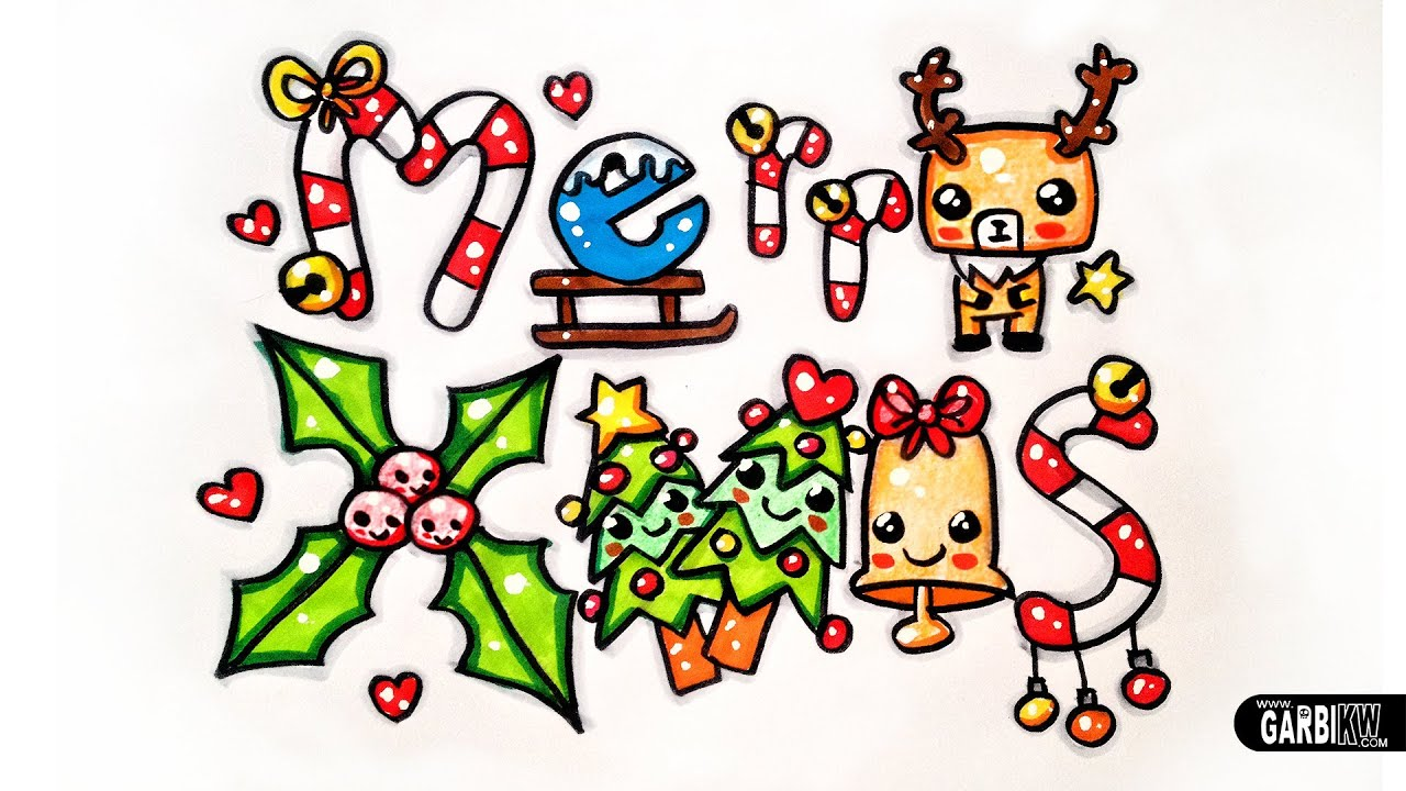 Merry Xmas - How To Draw Cute and Graffiti Letters by Garbi KW - YouTube