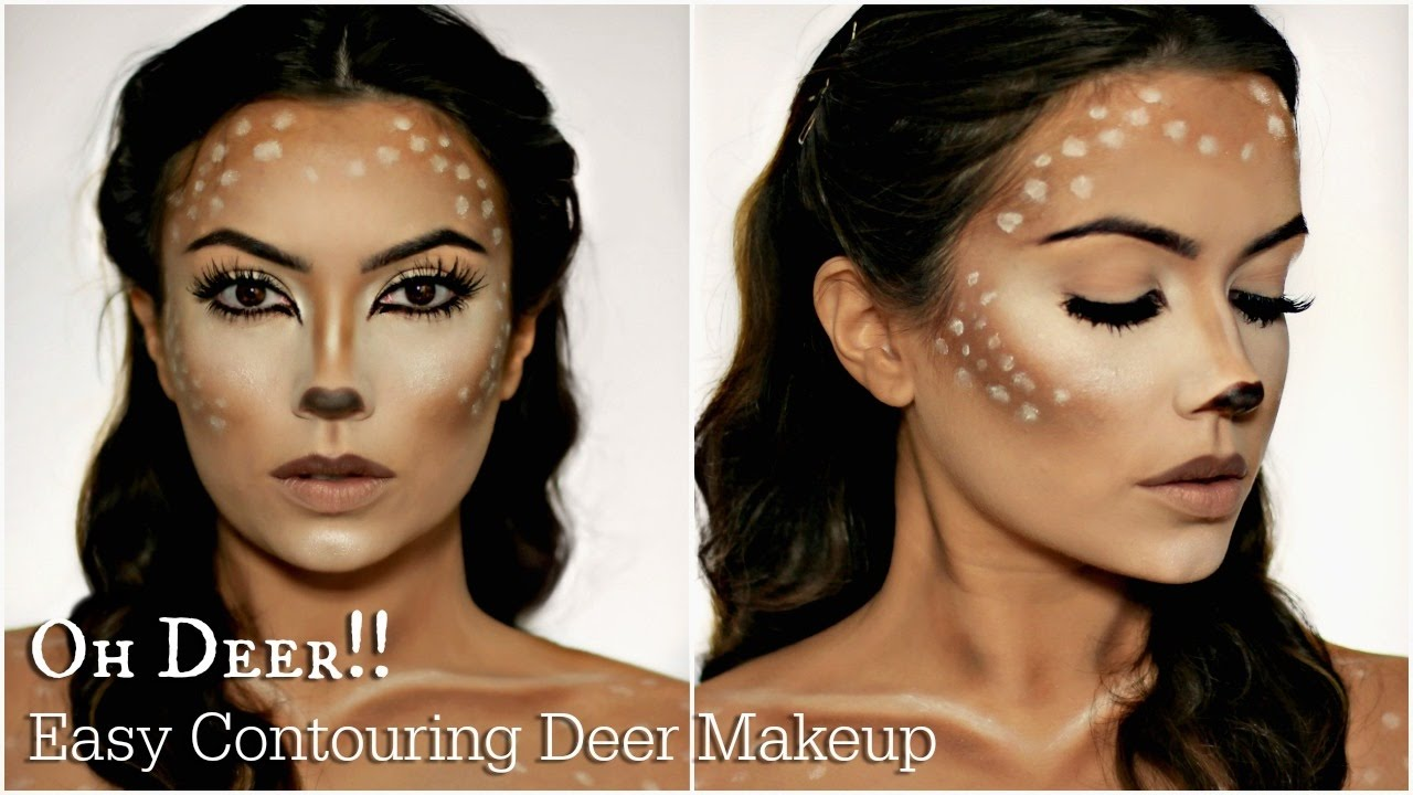 easy deer makeup tutorial halloween youtube